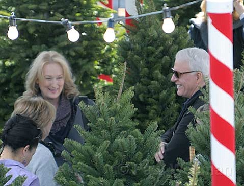 Merl Streep & Steve Martin on the set of a yet to be named movie being filmed in Santa Barbara