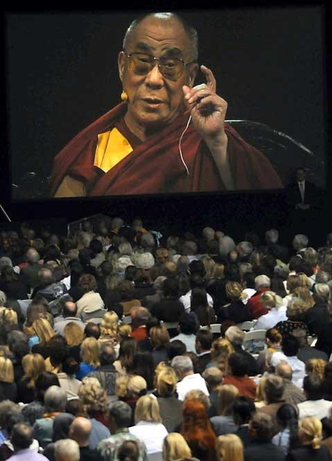 The Dalai Lama speaking at the Events Center at UC Santa Barbara