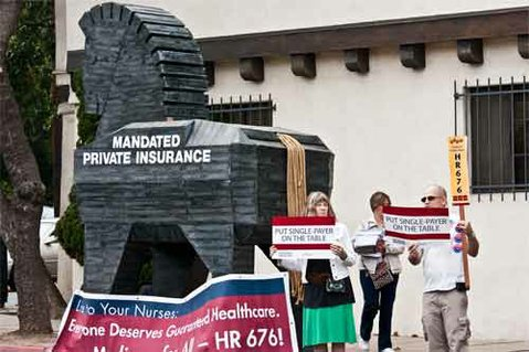 Protesters urged Rep. Lois Capps to endorse a single-player healthcare bill by erecting a wooden Trojan Horse in front of Capps's downtown Santa Barbara office.
