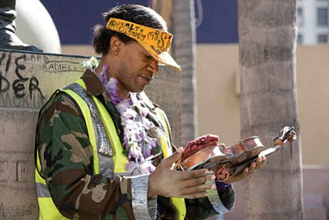 Jamie Foxx stars as Nathaniel Anthony Ayers in <em>The Soloist</em>, based on the true story of a Juilliard musician interrupted by mental illness.