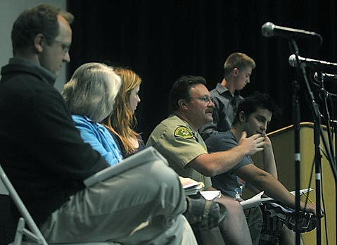 Panelists in the Isla Vista Theatre discuss the effects of Floatopia