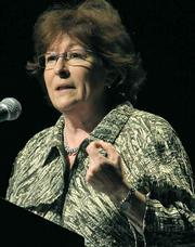 Former UN Human Rights Commissioner Louise Arbour spoke during her Campbell Hall appearance in favor of the independent judiciary model for war crimes.