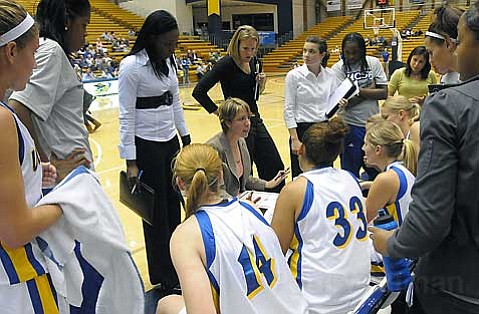 <strong>ON IN THE OFF-SEASON</strong>:  UCSB women's basketball coach Lindsay Gottlieb (center) is currently recruiting players from throughout California and beyond.
