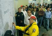Governor Schwarzenegger  gets briefed on the Jesusita Fire