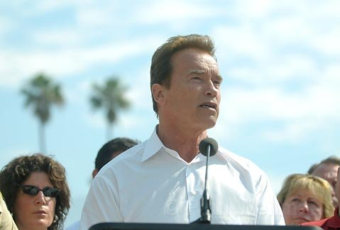A day after declaring a state of emergency Governor Schwarzenegger holds a press conference on the Jesusita Fire at Earl Warren Showgrounds