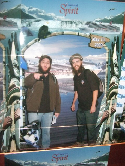 The author and Max in the official embarkation photo that they didn't buy.