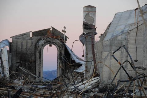 "From the Storefront Gallery Project: Nell Campbell's ""Mount Calvary Retreat House Ruins"" (dawn, New Year's Day, 2009)."