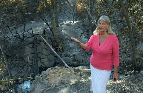 "<strong>GARDEN OF ASH:</strong>  ""If you think about the whole entire picture, it's overwhelming,"" said Botanic Garden spokesperson Nancy Johnson about the Jesusita Fire aftermath. ""You have to think about the piece that you're working on each day."""