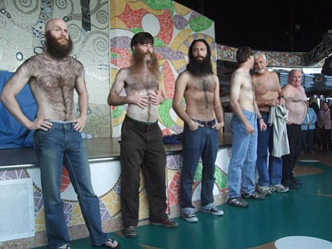 Devin Cara, Eric Brown, and Sasha from Canada reppin' the Beard Teams in the Hairy Chest Contest