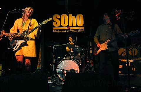 Blake Hazard (left) and John Dragonetti of the Submarines playing at Soho with guest drummer J Stare