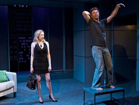 Annie Abrams as Clea and David Nevell as Charlie in Theresa Rebeck's dark comedy <em>The Scene</em>, directed by Art Manke.
