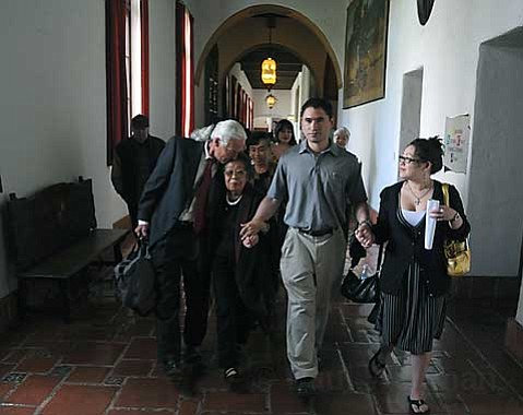 Edward Kyle Van Tassel leavers the Santa Barbara County Courthouse surrounded by family and friends