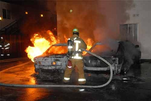 Burning cars at 350 Elwood Beach Drive on June 3, 2009