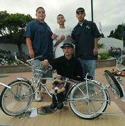 Riding Low Bike Club members Sergio Medrano, Andy Martinez, and Antonio Quintero