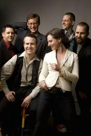 The members of eighth blackbird are Tim Munro, flutes; Michael Maccaferri, clarinets; Matt Albert, violin and viola; Nicholas Photinos, cello; Matthew Duvall, percussion; and Lisa Kaplan, piano.