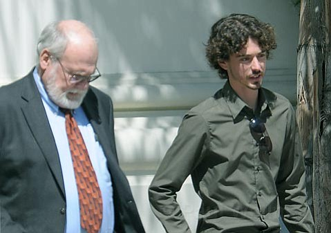 <strong>Cool customer:</strong>  Graham Pressley (right) didn't let several days of grueling testimony on the stand get to him. The then-teenager was implicated in the murder of 15-year-old Nicholas Markowitz, and his recent testimony has been the most significant to date against Jesse James Hollywood.