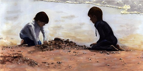 """""""Beach Builders,"""" oil on canvas, by Peter Worsley."""