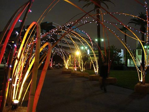 """Bamboo DNA's """"Bamboo ARCway"""" at the L.A. County Museum of Art (2009)."""
