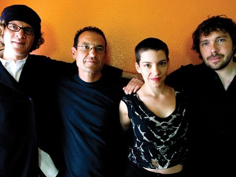 Tin Hat are (from left) Ara Anderson, Ben Goldberg, Carla Kihlstedt, and Mark Orton.