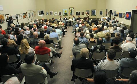More than 200 people gathered at the Faulkner Gallery for the journalism discussion on June 17.