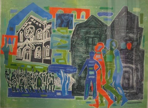 "Mixed media ""Shtetl, (Village)"", by Margaret Singer."