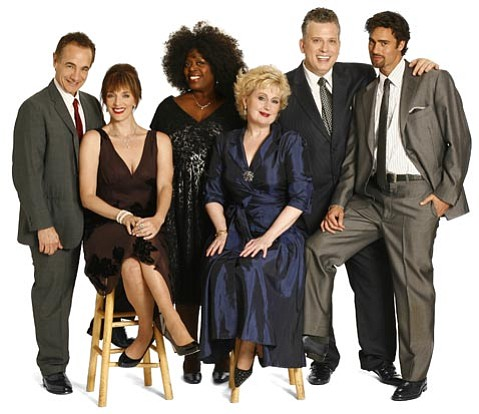 The cast of The Best Is Yet to Come (from left): Jason Graae, Julia Murney, Lillias White, Sally Mayes, Billy Stritch, and David Burnham.