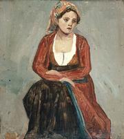 Jean-Baptiste-Camille Corot, Italienne Assise (The Seated Italian Girl), 1828. Oil on paper on board. Collection of Robert and Christine Emmons.