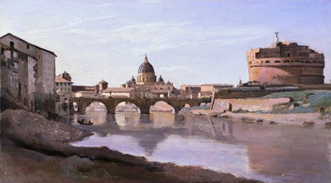 Jean-Baptiste-Camille Corot, View of Rome: The Bridge and Castel Sant'Angelo with the Cupola of St. Peter's, 1826-28. Oil on paper mounted on canvas. Fine Arts Museums of San Francisco.