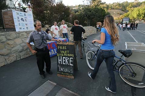 Bike-riding concert-goers simply drop off their bike without worry locking up or securing bags, bells and lights
