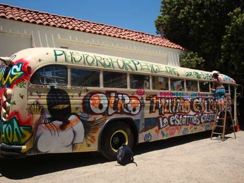 Pastors for Peace roll through Santa Barbara in colorful hand-painted bus.