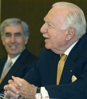 Walter Cronkite at a press conference in 2004 with Nuclear Age Peace Foundation president David Kreiger (left)