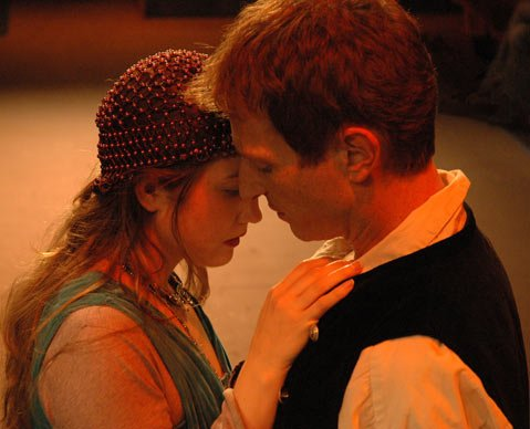 Danielle K. Jones as Ophelia and Leo Marks as Hamlet in the Theater 150 production of <em>Hamlet</em>.