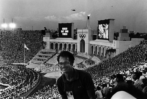 The author enjoying the 1984 Olympics at the L.A. Coliseum.