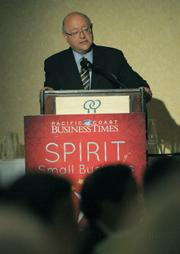 Mark Yudof addresses attendees at the Spirit of Small Business awards Aug. 6, 2009