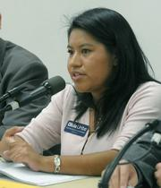 Olivia Uribe at a city council candidate forum sponsored by PUEBLO July 23, 2009