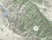 Overview of the La Brea fire zone shows the remote nature of the country in which fire fighters are heading. Though smoke will be seen from many locations, it currently is not a threat to any communities.