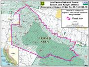 La Brea Fire closure area, August 10, 2009