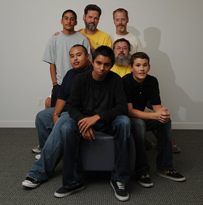 <strong>NO TO GANGS, YES TO MATURITY:</strong>  Teens such as (from left) Oscar Ramos, Dagoberto Castro, Jason Obisbo, and Skylar Pavolich can turn to Boys to Men leaders (from left: Stefan Hermann, Eddie Marciniak, and Michael Lopez) for guidance on how to mature into strong adults.