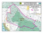 Map of closure areas of La Brea Fire(large format image)