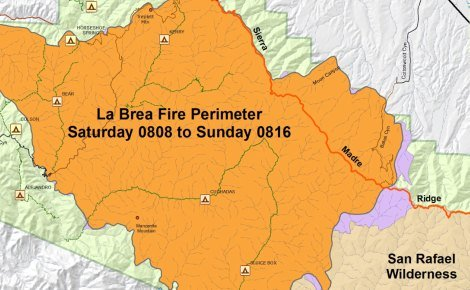 La Brea fire perimeter, August 8 - 16 (detail)