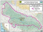 La Brea fire closure area, August 19