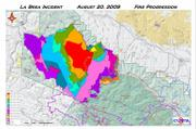 La Brea fire progression map showing where Zaca Fire (2007) burn occurred. (Enlarged to improve readability).