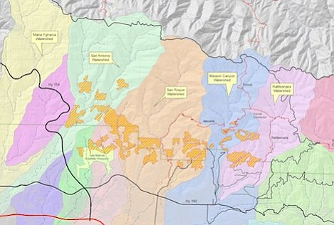 Map shows portions of each of the major watersheds that will be covered with hydromulch. Genarally, the mulch is applied only to slopes between 30-60 percent. With setbacks for roads, structures, creeks, power lines and other features only 1250 of the 8000+ acres burned in Jesusita Fire is suitable for coverage. Plan is still in draft format as there are still a few land owners who have yet to approve the spraying on their properties.