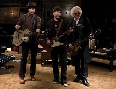 <strong>GUITARISTS GONE WILD:</strong> Jack White, U2 guitarist The Edge, and Led Zeppelin's Jimmy Page team up in <em>It Might Get Loud</em>.