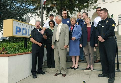 Santa Barbara City Police Officers Association announce endorsements of Helene Schneider for mayor and Frank Hotchkiss, Michael Self, and Dianne Channing for city council Saturday 09/12/09.