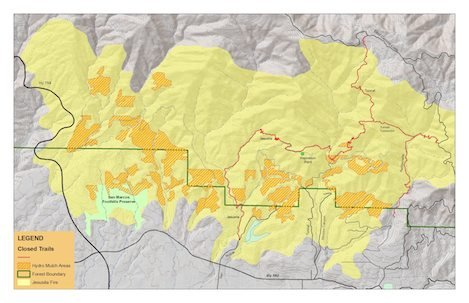 Map courtesy of SB Trails Council shows trails affected by the Jesusita Fire. While trails within Mission Canyon will continue to be closed indefinitely, users can expect Rattlesnake and the Jesusita trail on the San Roque side to be closed throughout the hydromulch operations and perhaps longer.