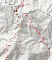Map shows approximate locations of illegal trail work being done on Cold Spring Trail along the top mile of the trail.
