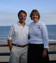 Regatta chair Tony Papa with the Executive Director of the Visiting Nurse <span class=