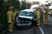 The aftermath of the wrong-way accident on 101 on September 23, 2009. The driver of this vehicle was reportedly killed.