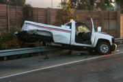 The aftermath of the wrong-way accident on 101 on September 23, 2009. This truck, initially described as a white Verizon truck, according to officials, got on the freeway in Goleta and crashed into five cars near El Sueno Road.
